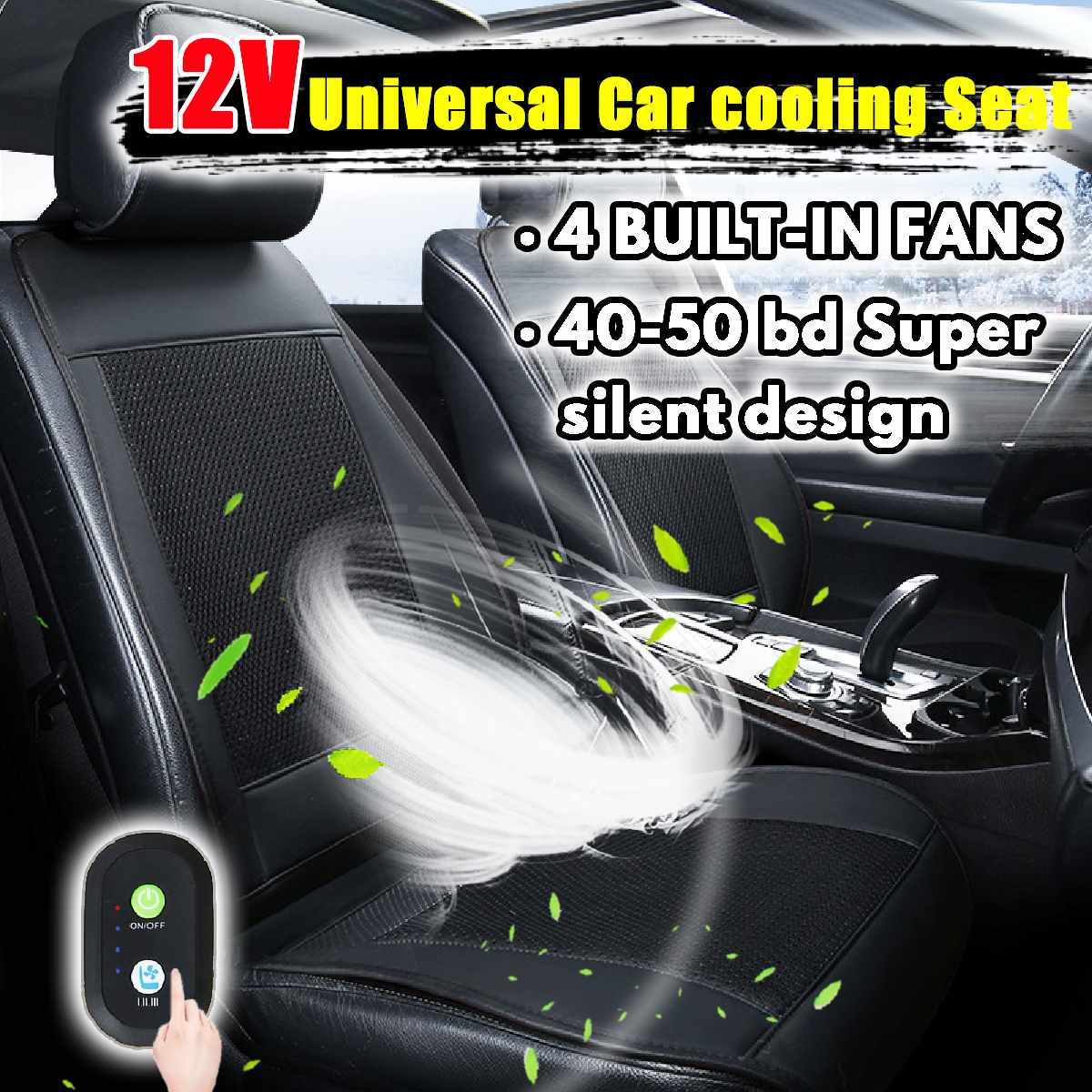 Funda de cojín de asiento de coche de refrigeración de 12V ventilador ventilado acondicionado almohadilla enfriadora 4 ventilador integrado 3 velocidades fundas de cojín de asiento