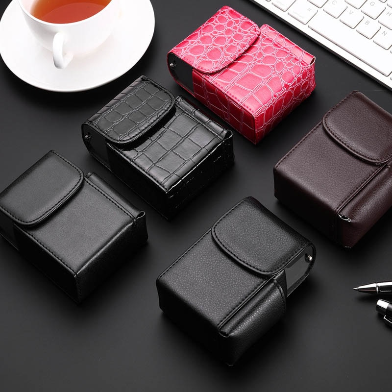 Cigarette Box Lighter Holder Tobacco PU Leather Nice Gift Smoker Smoke Tools Cigar Case Men Supplies