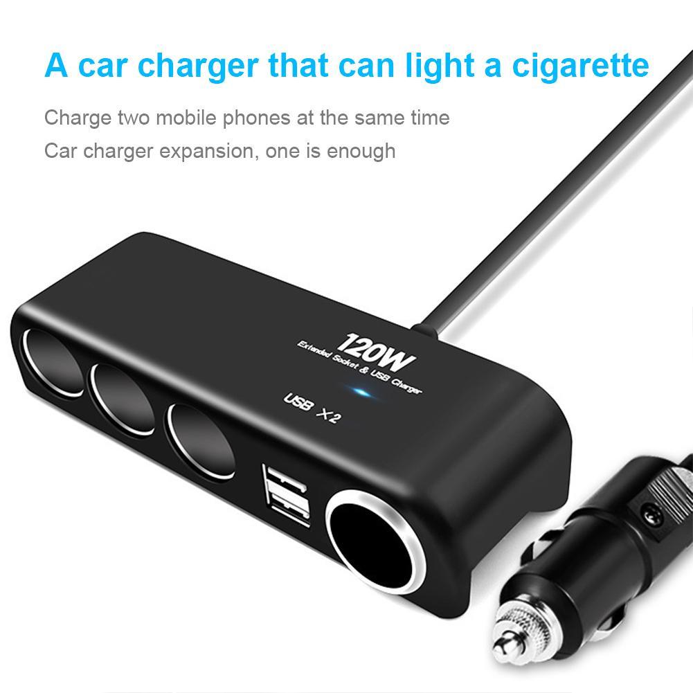 Cargador de coche uno para cuatro fuente de alimentación de coche Dual USB cargador de coche alimentador para encendedor de cigarrillos distribuidor adaptador cargador de batería de coche