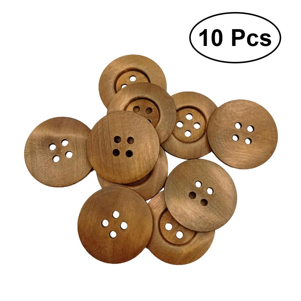 10 Uds. Botones de madera de 4 agujeros 50MM forma redonda ambiental Lado ancho de impresión sólida pequeña y fresca botones de presión DIY