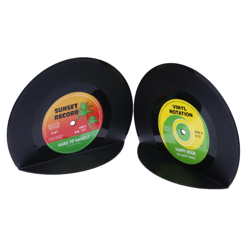 1Set/2pcs Retro Vintage Record Bookends Vinyl Book Holder Desk Organizer Desktop School Office Accessories Material Dscolar