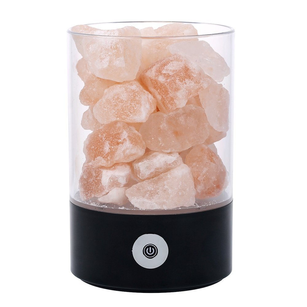 Lámpara de roca de cristal de sal del Himalaya Real USB buena para la salud pequeño Mineral iónico negativo piedra Lava sal luz de noche para Be