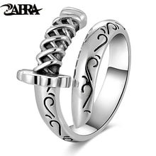 ZABRA Echtes 925 Sterling Silber Punk Ringe Mens Siegelringe Karten-messer-säbel Krieger Waffen Verstellbaren Ring Biker Männer Schmuck