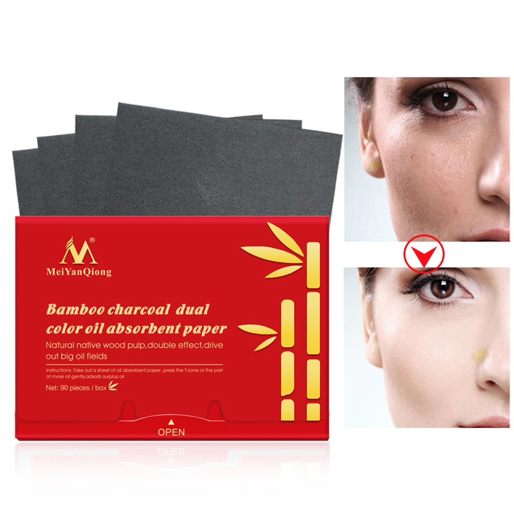 90Pcs/pack Bamboo Charcoal Oil Blotting Sheets Facial Absorbent Paper Oil Control Matting Tissue Portable Face Pads Patches