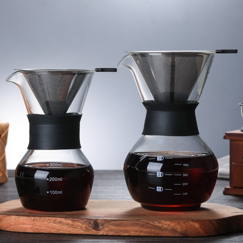 300/600ML Glas Kaffee Wasserkocher W/Edelstahl Filter Tropf Brauen Heißer Brewer Kaffee Topf Barista Gießen über Kaffee Maker