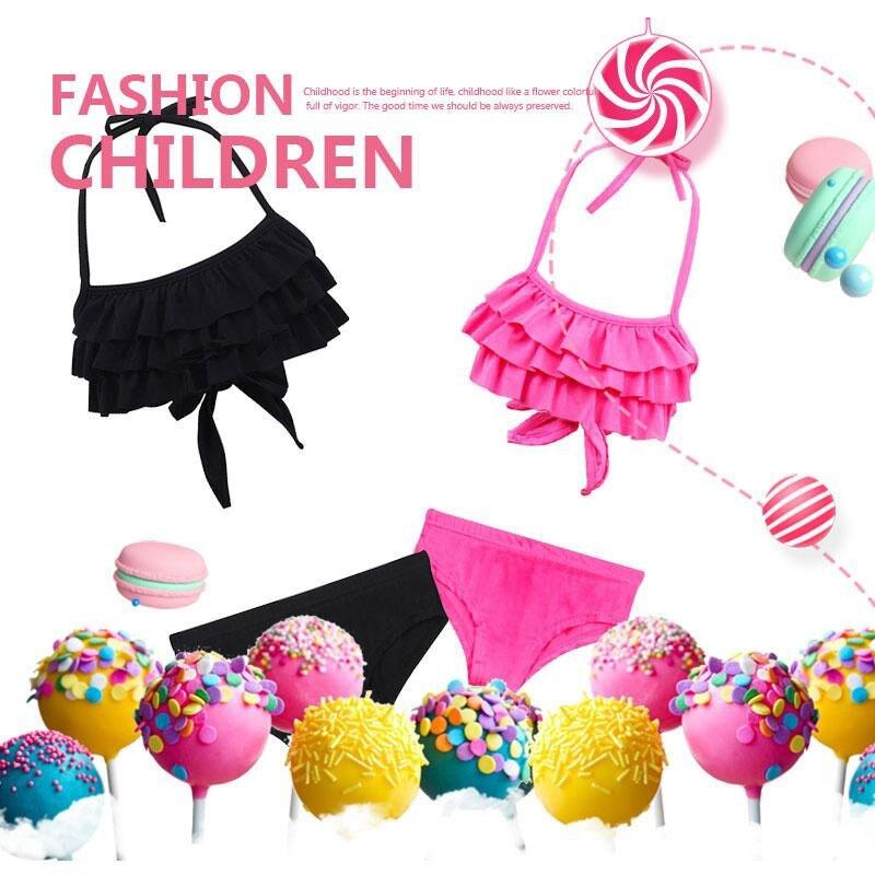 Сексуальный купальник для девочек, детские купальники из двух предметов, Детские раздельные бикини с оборками, комплекты, купальный костюм