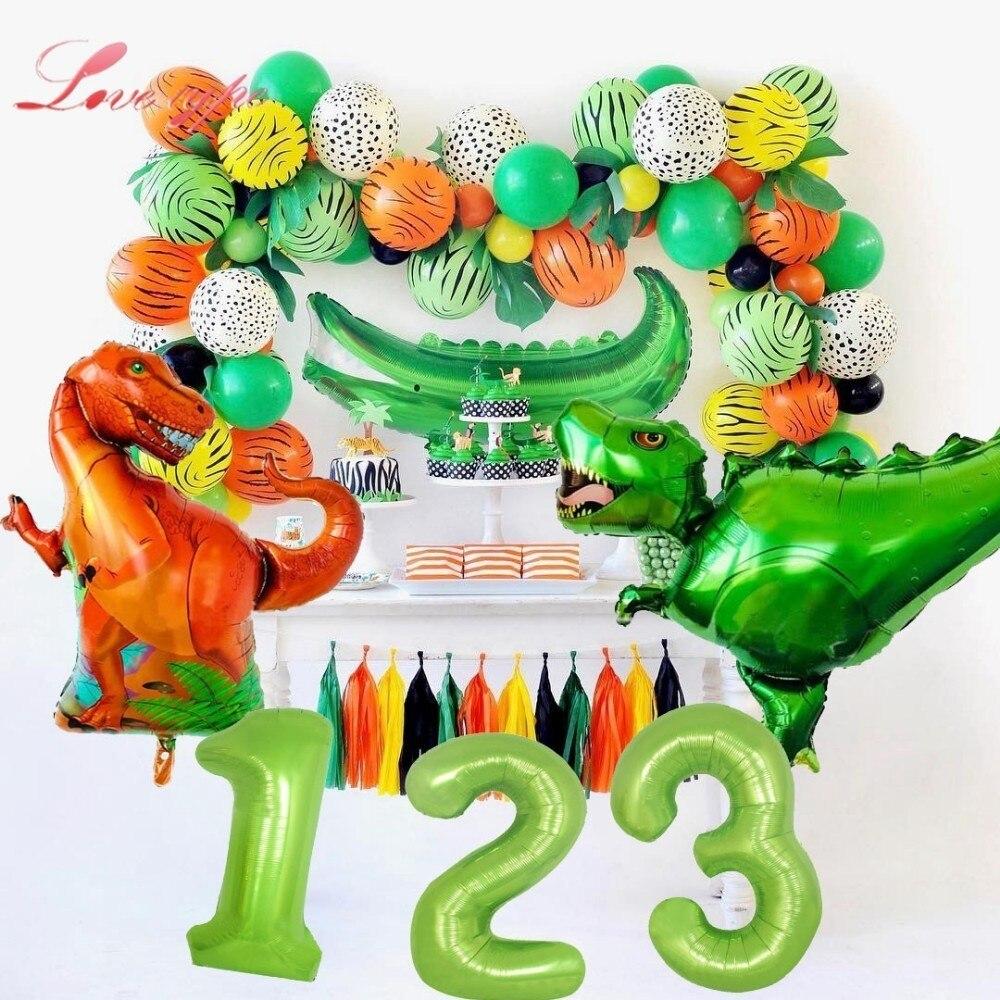 1 zestaw motyw dinozaura z balonów foliowych baner urodzinowy dla dzieci zabawki balony Baby Shower Safari dekoracje na przyjęcie urodzinowe
