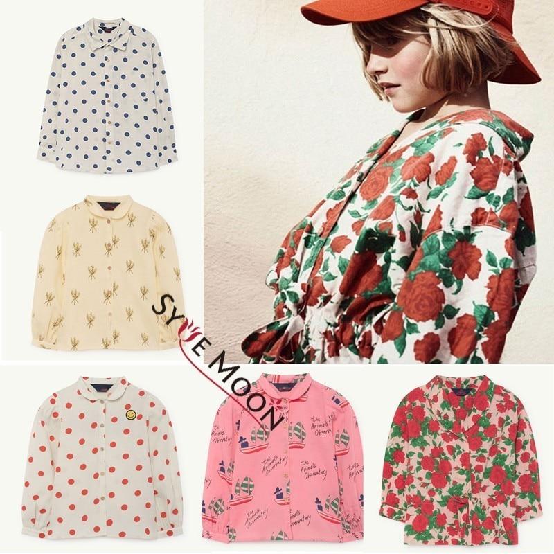 Kids Long Style Shirts 2019 TAO Brand Boy Girls Dot Flower Print Long Sleeve Shirts Baby Children Summer New Clothes Tops