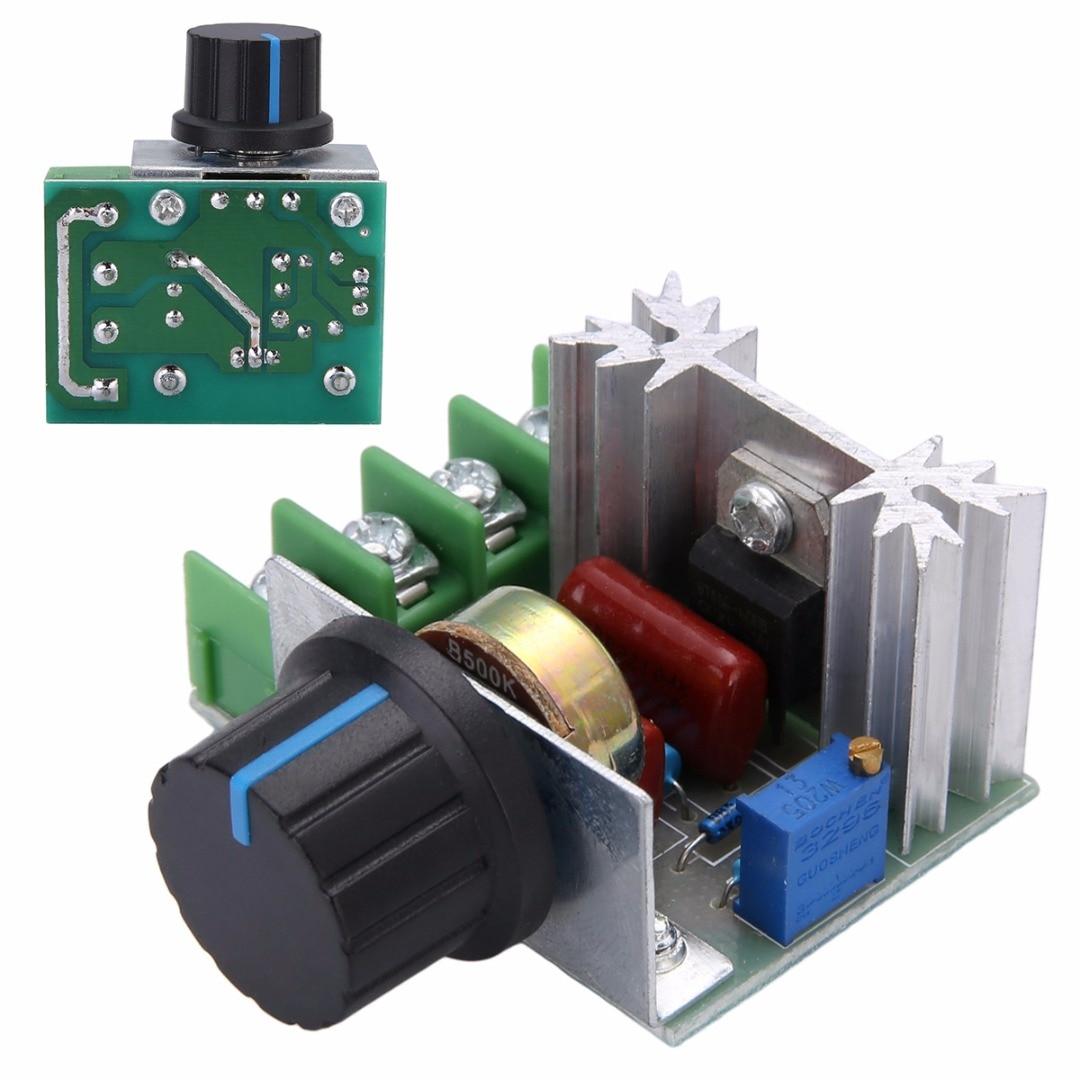 Nuevo regulador de voltaje alta protección actual 50-220V 2000W AC reguladores SCR controlador interruptor de botón de Control de velocidad de la herramienta