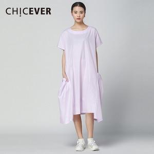 CHICEVER Casual Dress Women O Neck Short Sleeve Big Pockets 2020 Summer Dresses For Women Top Irregular Hem Solid Casual Fashion