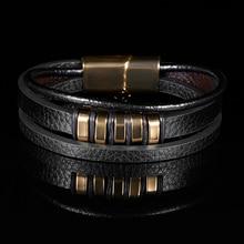 Rinhoo 2019 hommes bijoux Punk noir tressé Geunine Bracelet en cuir en acier inoxydable boucle magnétique bracelets de mode 22/20.5cm