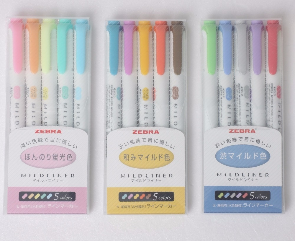 15-Colores 3 SET ZEBRA WKT7 Mildliner suave Color de doble cara resaltador pluma punta redonda/oblicua escuela Oficina suministro