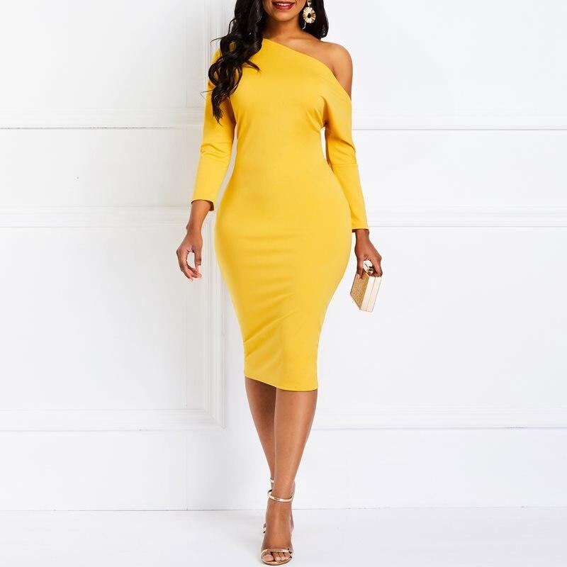 Fiesta de noche fecha amarillo oblicua uno hombro Bodycon vestido de las mujeres africanas Oficina dama moda Primavera Verano moda vestidos