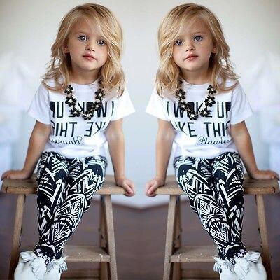 Verano moda niños niñas I Woke Up Like This manga corta blanca Tops camiseta + Pantalones largos 2 uds conjunto de trajes 2-9Y
