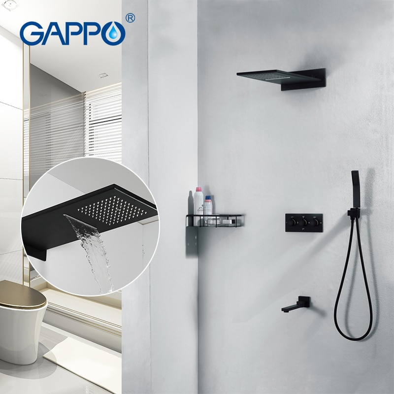 GAPPO-صنبور دش مثبت على الحائط من الكروم ، رأس دش نحاسي مخفي ، تأثير الشلال ، أسود