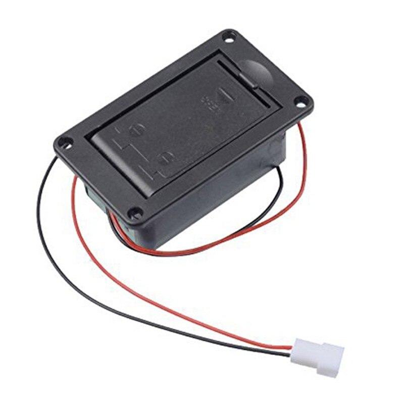 Активный бас-гитарный пикап 9 в батарейный блок/держатель/корпус/Отсек крышка с металлическими контактами пружинный и 2-контактный разъем с кабелем