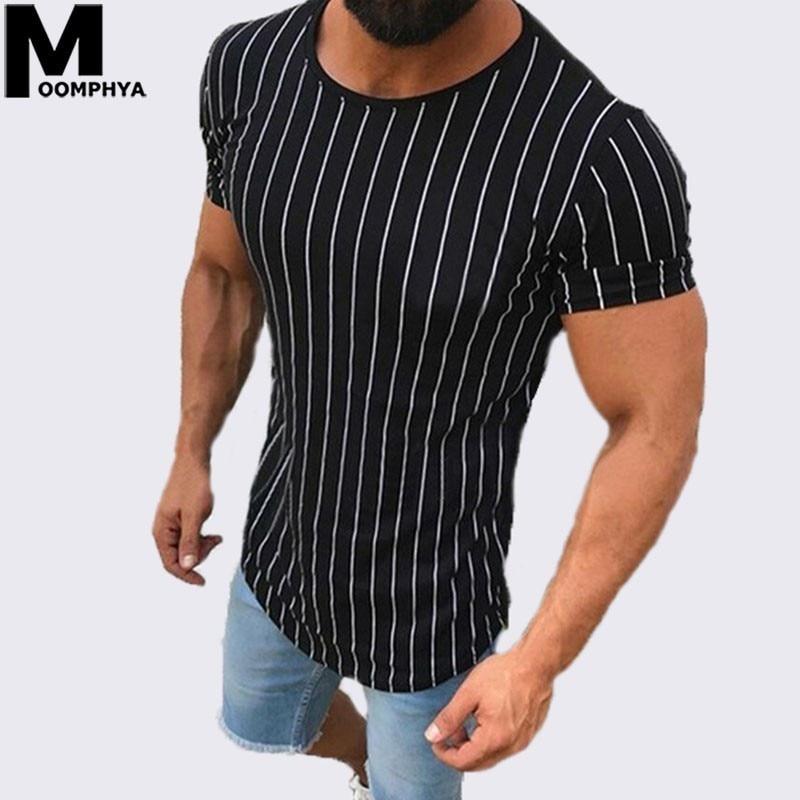 Moomphya 2019, camiseta de manga corta con rayas verticales para hombre, ropa de calle, camiseta divertida de hip hop, camiseta ajustada, camiseta de verano para hombre