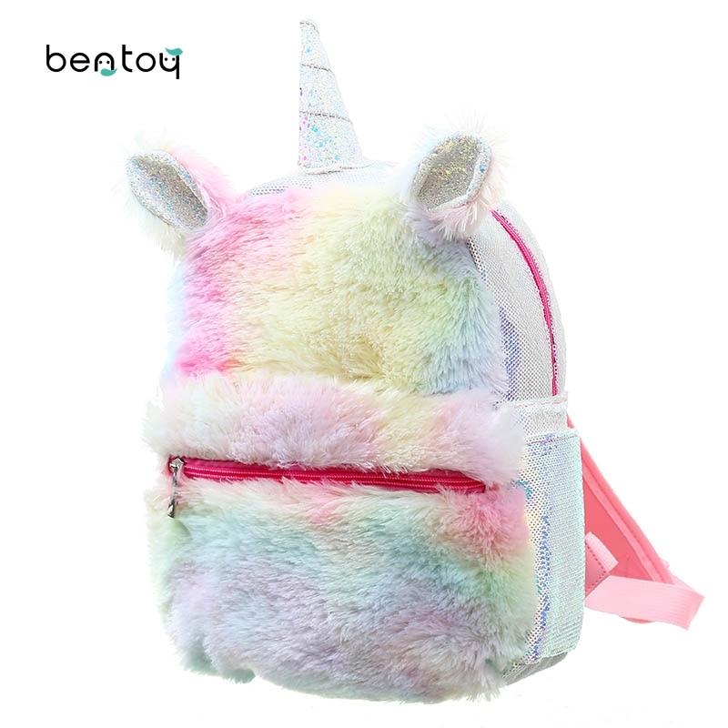 Nueva mochila de unicornio de lentejuelas para mujer, mochila de felpa de dibujos animados de invierno para niñas, mochilas de viaje para mujeres, mochila escolar de felpa