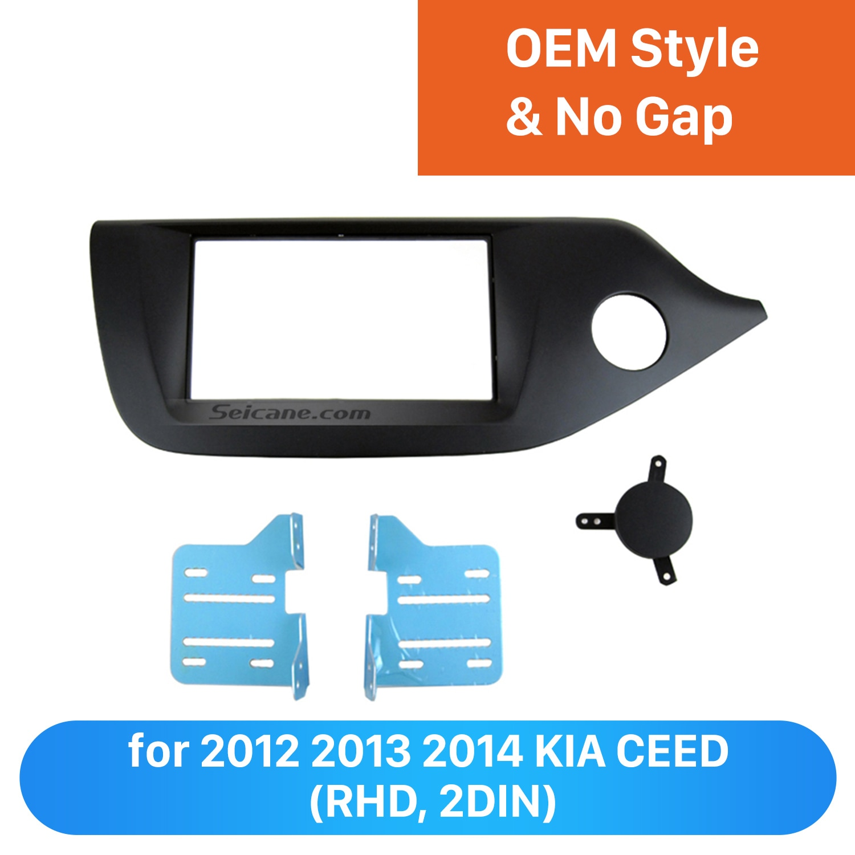 Seicane negro doble Din para 2012 2013 2014 KIA CEED coche Radio Fascia mano derecha coche DVD marco estéreo instalar placa frontal