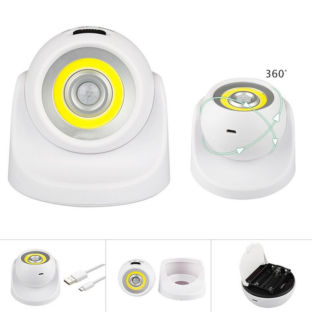 ARILUX zasilany z baterii/USB akumulator 360 stopni obrót COB PIR Motion Sensor lampka nocna lampka na ścianę do korytarza