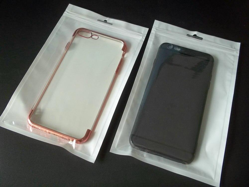 13*21cm branco claro auto selo zíper varejo saco de embalagem de plástico, para iphone samsung caso móvel pendurar buraco armazenamento saco