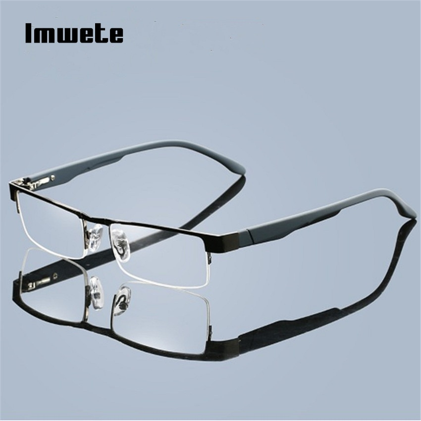 Imwete gafas de lectura hombres negocios hipermetropía aleación medio marco anteojos recetados + 1,0 2,0 3,0 3,5 4,0