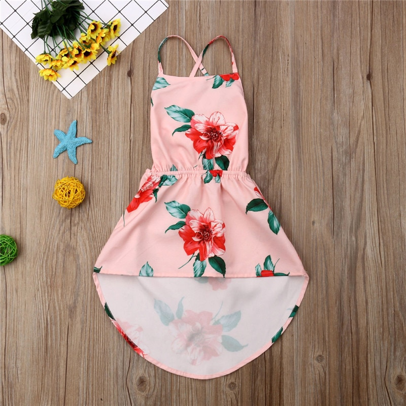 Детское платье с цветочным принтом и открытой спиной для маленьких девочек, пляжное платье без рукавов с лямкой на шее и шнуровкой, повседневное хлопковое мини-платье с цветочным принтом для девочек