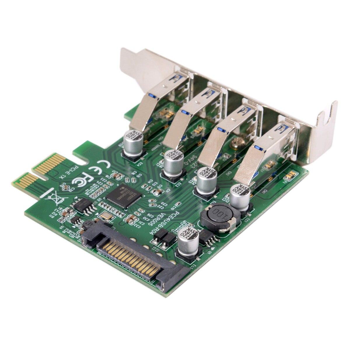 Chenyang bajo perfil 4 puertos PCI-E a USB 3,0 HUB tarjeta de expansión PCI Express adaptador 5Gbps para la placa base