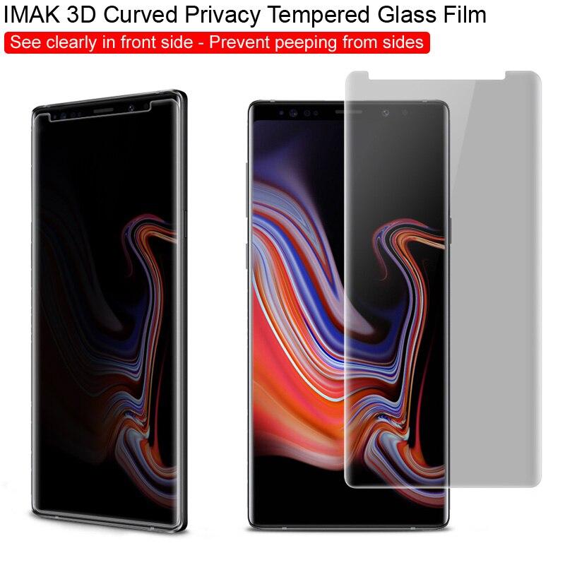 3D Curvo Proteger Privacidade Anti Reflexo para Samsung Galaxy Note 9 Note9 Imak anti filme protetor de tela de vidro temperado espião