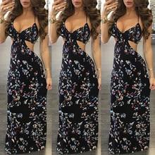 Summer Dress 2019 Women Backless V-Neck Vintage Long Evening Party Beach Dress Floral Print Sundress
