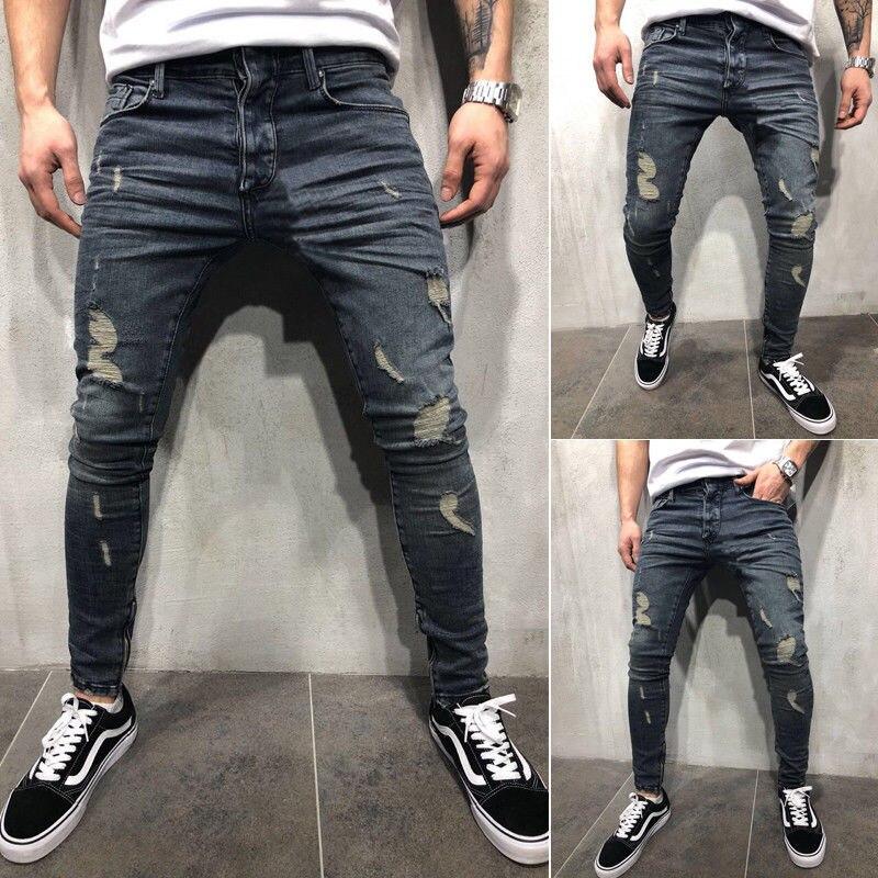S-4XL мужские джинсы с эффектом потертостей, эластичные облегающие джинсы с эффектом усов