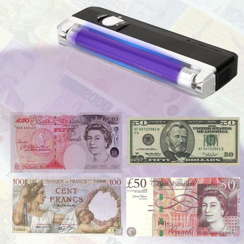 Lámpara UV de mano 2 en 1 linterna Led linterna Detector de dinero billetes falsos Passpost Control de Seguridad