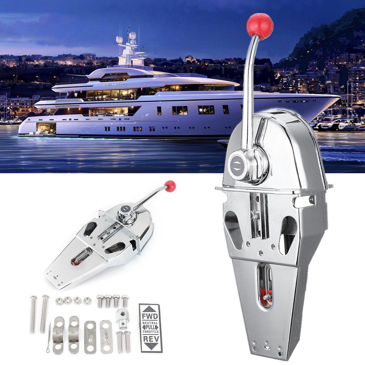 Punho caixa de controle do motor montagem superior 316 aço inoxidável barco marinho única alavanca dupla ação built-in fricção 45.5x15x12cm