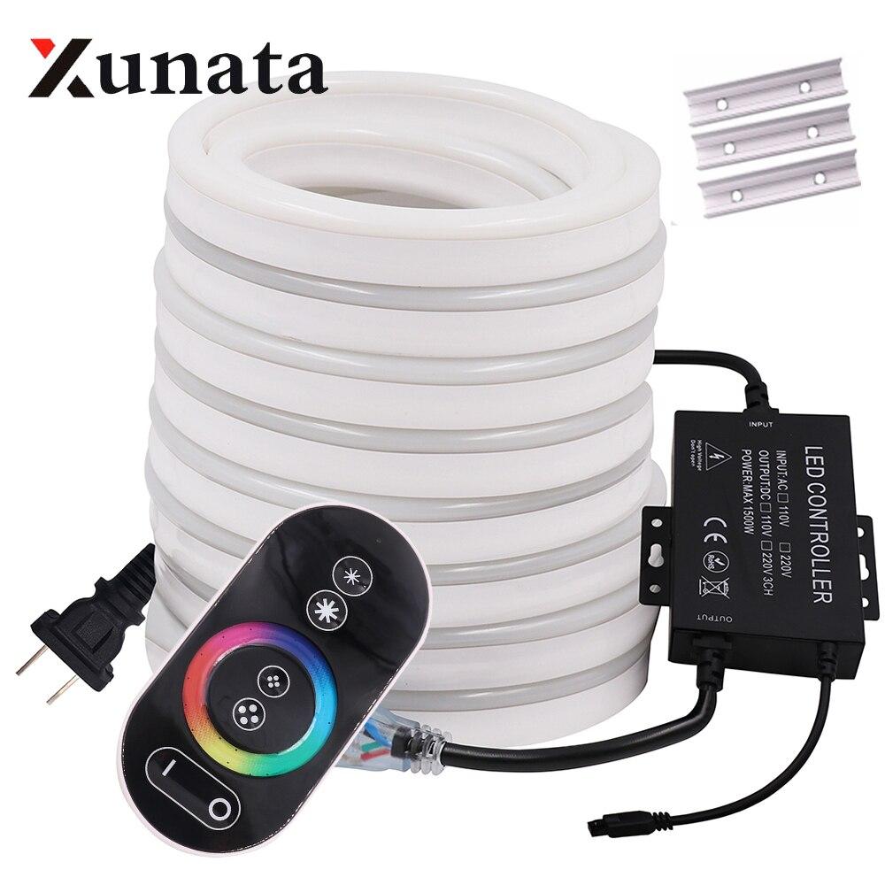 RGB Neon Light Ribbon Tape Flexible LED Neon Sign Night Light Lamp 2835 5050 120LEDs/m LED Strip Remote 24Key 110V 220V