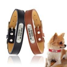 Engraved Dog Collar Leather Puppy Collar Chihuahua Pitbull Custom Cat Collar Pet ID Collars For Small Medium Dogs petshop perro