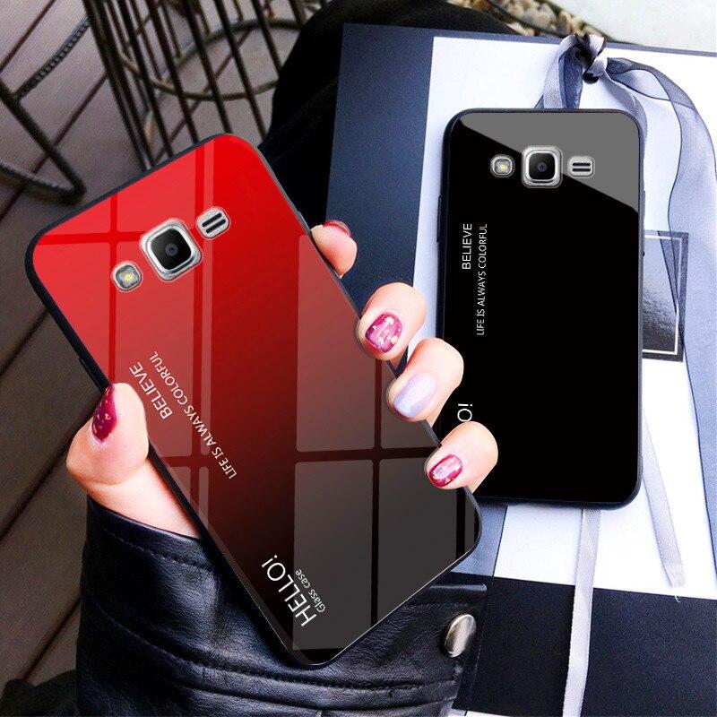 Para Samsung J5 J2 J7 2015 carcasa gradiente Aurora carcasa trasera de vidrio templado para Galaxy J200 J500 J700 J700F Capa de colores