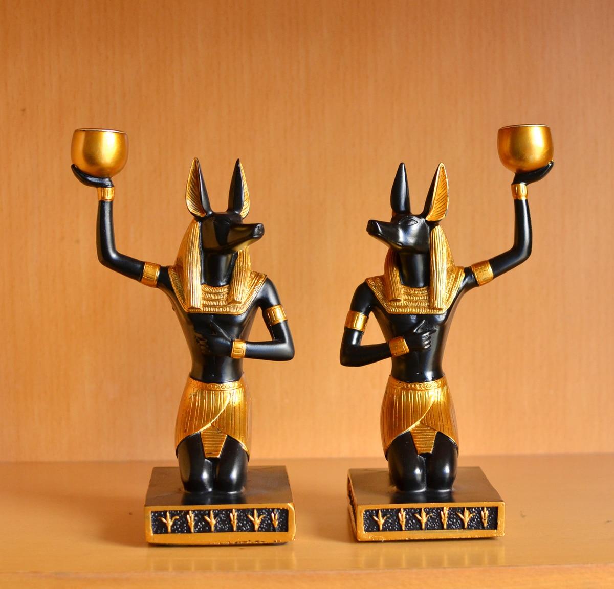 Decoración de estilo egipcio perro dios Anubis figurillas escritorio creativo portavelas boda hogar adorno artesanía decoración candelabro