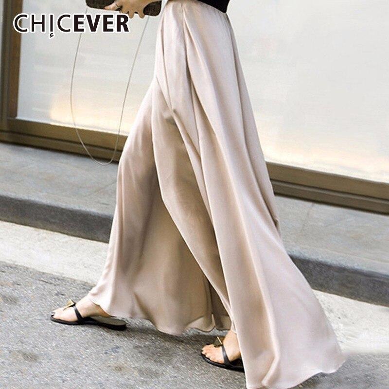 Pantalones de cintura elástica CHICEVER de otoño para mujer, pantalón de pierna ancha s de gasa holgado de talla grande, pantalón de pierna ancha para mujer, tendencia de moda
