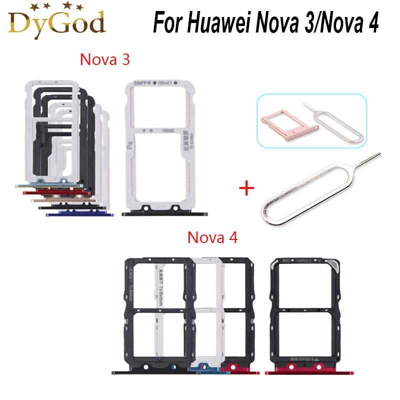 For Huawei Nova 3 SIM Card Tray Slot Holder Adapter Repair Accessories For Huawei Nova 4 With Take S