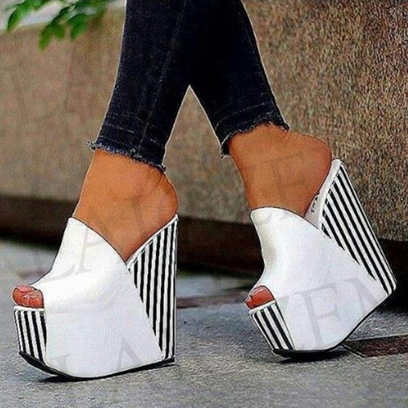 LAIGZEM-صندل نسائي بكعب ويدج ، حذاء نسائي بكعب عالي ، مقاس كبير 34-47