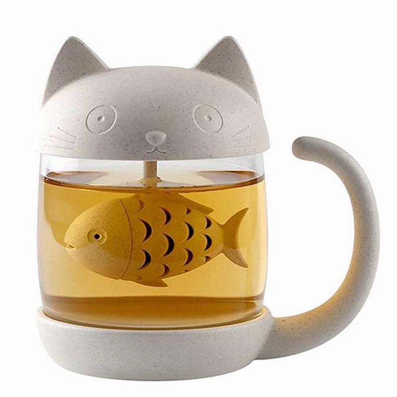 Cute Cat herbata filiżanka kawy z sitko do herbaty zaparzaczem szklany kubek czajniczek torebki kubki pary kubki filtr narzędzia kuchenne