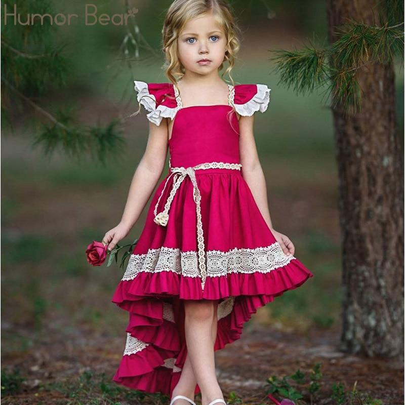 Humor urso meninas roupas de cauda de andorinha vestido de verão bebê rendas sem costas irregular festa vestido de princesa roupas de bebê meninas vestido de meninas