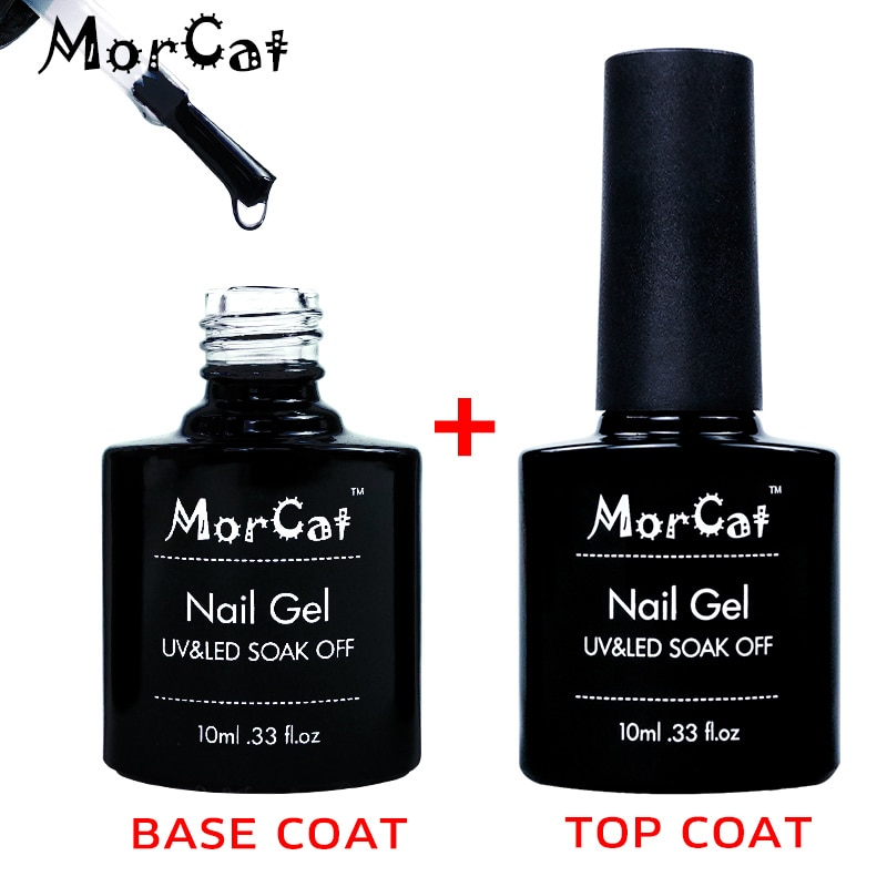 MorCat Top + Base Coat UV Gel Nail Polish Transparent Top Base Coat Nail Gel Polish Base and Top Coat Vernis Semi Permanant