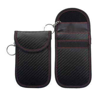 12.5*8cm New RFID Carbon Fiber Car Key Shielding Bag Anti-theft Anti-scanning Key Se