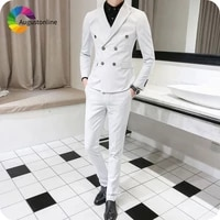 summer white men tuxedo suits double breasted peaked lapel slim fit man blazer 2piece jacket pants costume homme terno masculino