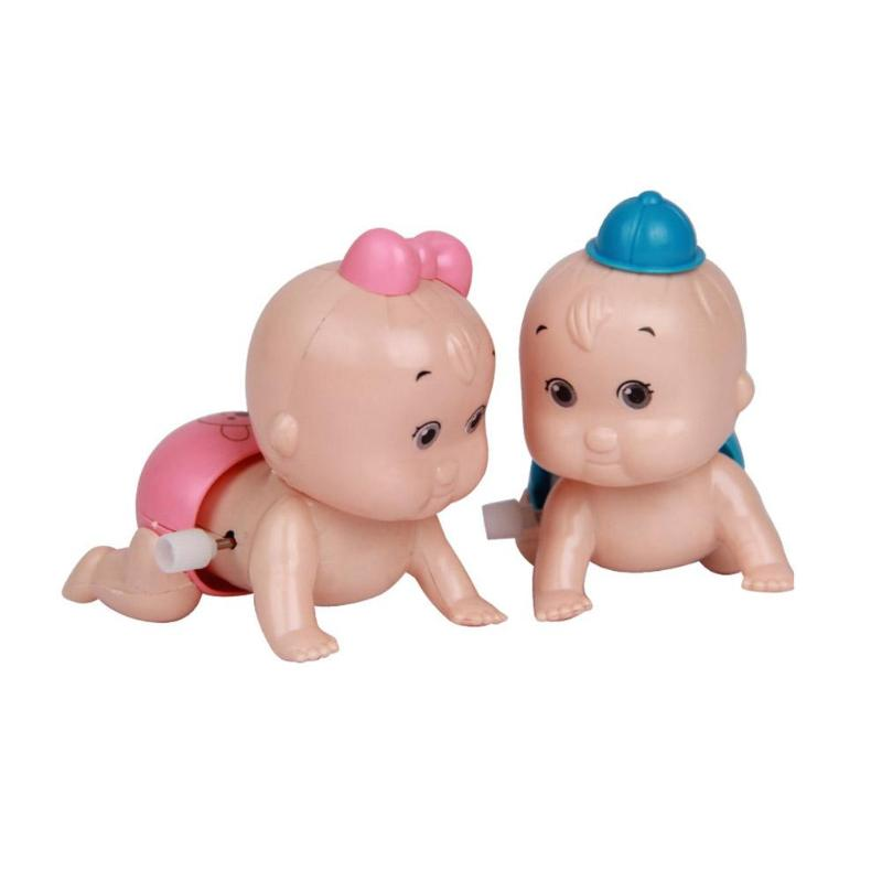 1 stücke Puppe Spielzeug Cartoon Nette Wind Up Clockwork Spielzeug Butt Kopf Schütteln Krabbeln Baby Puppen Cartoon Nette Wind Up uhrwerk Spielzeug