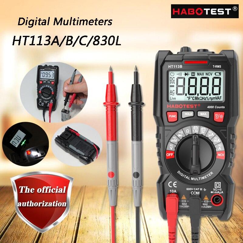 Hhabotest ht113a/113b/113c/830l multímetro digital; multímetro verdadeiro pequeno rms digital, ncv/teste de bateria lcd backlight/teste ao vivo