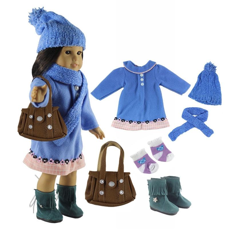 Комплект кукольной одежды, 6 в 1, синее пальто + шляпа + шарф + обувь + носки + сумка, 18 дюймов, американская кукла, комплект одежды ручной работы