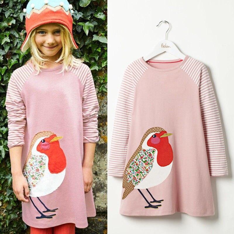 Vestido de túnica con estampado de pájaro de manga larga a rayas para niñas pequeñas 1-7Y