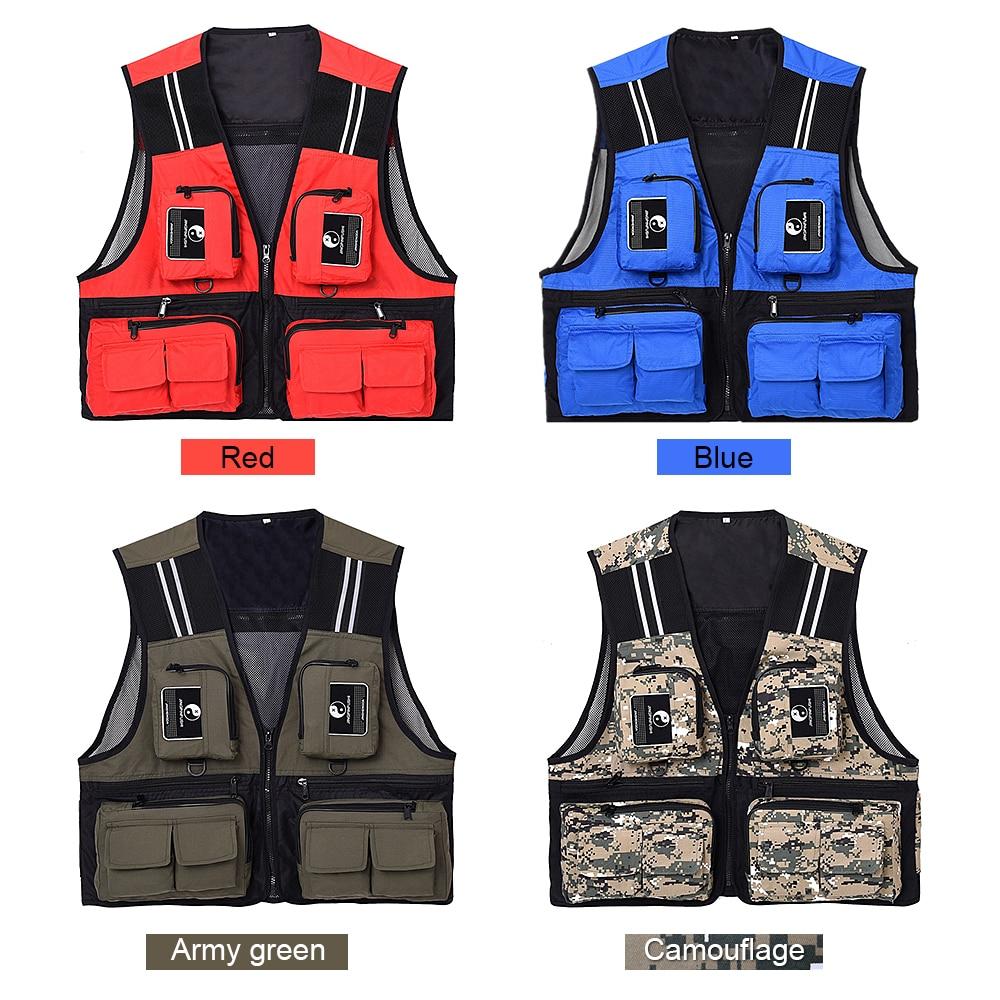 Lixada Chaleco de pesca sin mangas de malla chaqueta de pesca Multi-bolsillos transpirable fotografía caza pesca chalecos